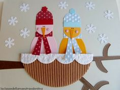Possible winter crafts for grandparents - snowbirds Art Activities For Kids, Winter Activities, Christmas Activities, Christmas Crafts For Kids, Kids Crafts, Christmas Diy, Christmas Cards, Christmas Ornaments, Winter Art Projects