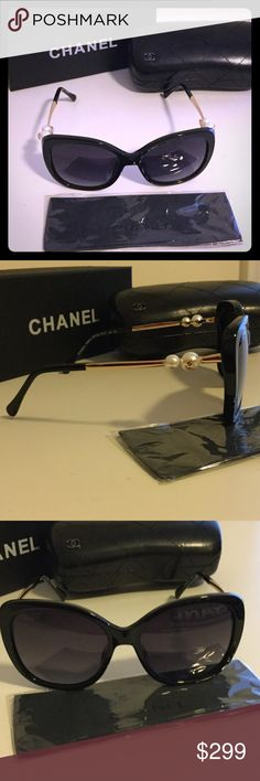 Chanel Pearl Sunglasses POLARIZED Box and case included. Chanel cloth also included. Pretty glasses never worn. Gold tone logo on pearl. Serial number on lense and arm of glasses. CHANEL Accessories Sunglasses