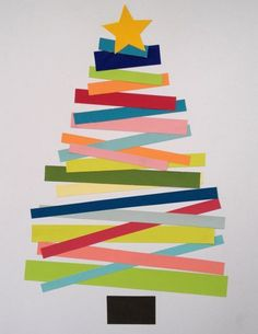 Christmas tree - colored strips. Would also be fun with recycled magazine pages.