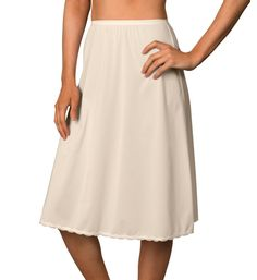Vanity Fair Ivory Nylon Half Slip Sz L Lace Hem Trim Below Knee Sexy Side Slit Large Assortment Women's Clothing