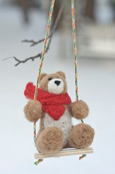 Needle Felted Bear Ornament - Swinging Would be cute made smaller for necklace