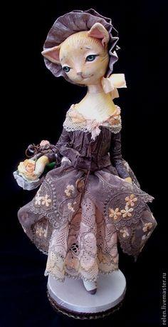 Купить кошечка Элис - кошка, кошечка, Кошки, авторская кукла, интерьерная кукла, оранжевый