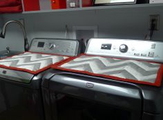 Quilted Chevron Mats With Non Skid Backs To Protect The Finish Of Washer And Dryer Coversdiy