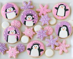 Pink and Purple Penguin Cookies with snowflake for your #Christmas #baby #shower!!