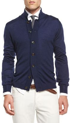 Brunello Cucinelli Button-Down Knit Cardigan, Navy