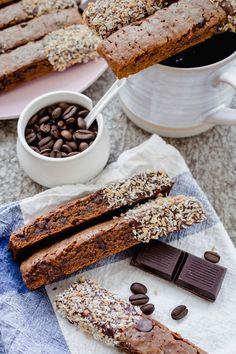 Once you try these homemade vegan coco-mocha biscotti, you'll never want to eat store-bought ones ever again! With Mother's Day less than 2 weeks away, I wanted to share a recipe that would elevate a brunch or be a special gift. Biscotti was the answer. Vegan Baking, Healthy Baking, Vegan Dessert Recipes, Cookie Recipes, Vegan Christmas Cookies, Buzzfeed Tasty, Vegan Treats, Vegan Foods, Vegan Cake