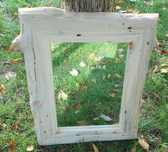 Knotty Red Pine Mirror and Frame with Wormholes  by AlongtheRidge, $125.00