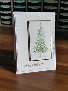 Stampin Up Lovely as a Tree zu Weihnachten in Flüsterweiß, Kupfer und Gartengrün