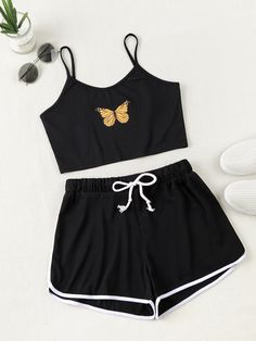 Cute Lazy Outfits, Crop Top Outfits, Teenage Outfits, Outfits For Teens, Cool Outfits, Girls Fashion Clothes, Teen Fashion Outfits, Edgy Outfits, Cute Sleepwear