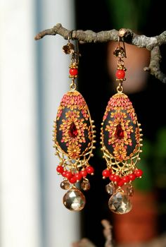 Tundra Sapphire Coral and champagne quartz earrings by Peelirohini, $76.00