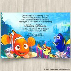Disney Nemo Dory Squirt Baby Shower Invitations