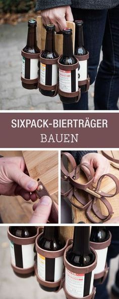 Gift idea for men: building beer holders out of wood and leather / diy gift idea for . - Gift idea for men: build beer holders out of wood and leather / diy gift idea for him: craft a mobi - Diy Gifts For Men, Diy Gifts For Boyfriend, Crafts For Boys, Diy Crafts, Birthday Crafts, Birthday Ideas, Diy Box, Valentines Diy, Diy Christmas Gifts
