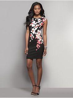 Floral Cascade-Print Sheath Dress