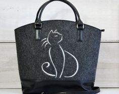 Women felt bag Cat bag Felt tote bag Felt handbag Felted purse Cat design Felt…