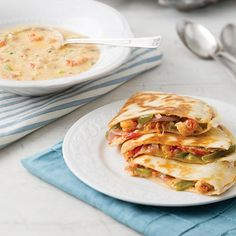 Crawfish tails and fresno chiles make the perfect pairin theseCrawfish Quesadillas.    Save Recipe Print  Crawfish Quesadillas        Serves:4