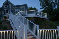 With our plug-and-play LED rail lighting system, there's no need for cutting & splicing. Splitters & harnesses connect with LED accessories easily. Outdoor Stair Railing, Balcony Railing, Deck Railings, Stair Lighting, Lighting System, Vinyl Railing, Light Up, Outdoor Living, Diys