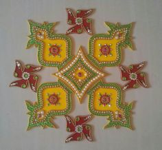 Diwali Craft, Diwali Rangoli, Rangoli Designs Flower, Creative Design, Art Gallery, Arts And Crafts, Christmas Ornaments, Holiday Decor, Flowers