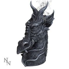 This amazing Gothic dragons head incense burner holds both incense sticks and cones. Once lit the smoke from the cone or stick appears from behind the dragon via three holes. looks fantastic. Incense Cones, Incense Sticks, Lisa Parker, Sculptures, Lion Sculpture, Anne Stokes, Dragon Head, Incense Holder, Chinese Dragon