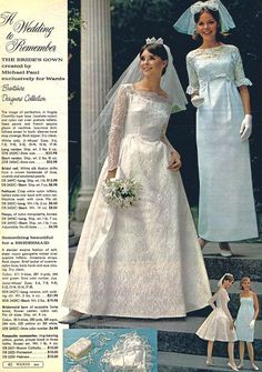 1966 wedding by Montgomery Ward ~ Michael Paul designed gowns 1960s Wedding Dresses, Wedding Dress Patterns, Bridal Dresses, Wedding Gowns, Vintage Wedding Photos, Vintage Bridal, Vintage Outfits, Vintage Dresses, Vintage Mode