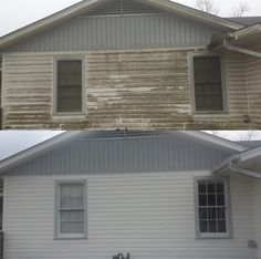 Pressure washing house siding before and after picture. Pressure washing house siding before and aft Power Washing House, Pressure Washing House, Pressure Washing Business, Pressure Washing Services, Cleaning Services, Mobile Home Siding, Clean Siding, Deck Cleaning, House Wash