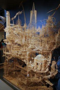 Wow! Made from toothpicks, took over 30 years to build, and is interactive with marble runs built into it.