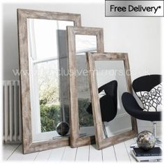 Shabby chic rustic wooden frame mirror!