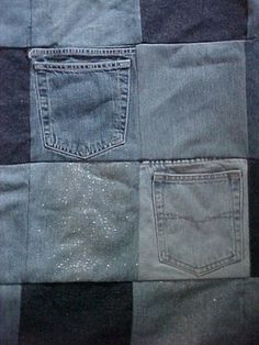Save the Pockets from Your Old Jeans and Use Them to Make a Quilt: Denim Pocket Quilt. Nice idea for a memorial quilt.