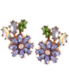 Betsey Johnson Rose Gold-Tone Faceted Bead Flower Button Stud Earrings