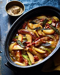 Pork, cider, apples and sage combine in this incredible casserole bursting with sweet and salty notes. Serve with buttery mash potato. Sausage Recipes, Pork Recipes, Casserole Recipes, Cooking Recipes, Healthy Recipes, Sausage Casserole Slow Cooker, Recipes Using Sausages, Hamburger Casserole, Chicken Casserole