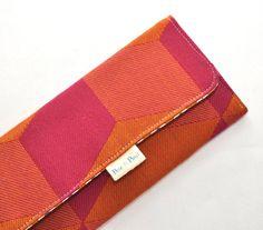 WOMEN'S WALLET  /// Orange and Pink Geometric by PeteandPaul   #etsy #handmade