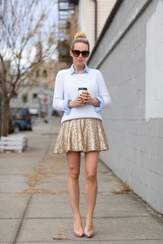 gold skirt looks - Google Search