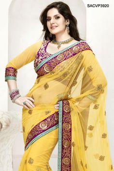 $210 Enthralling Yellow Net Saree From Cbazaar