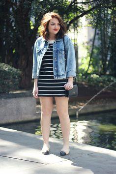 Look da Ka: Vestidinho navy e jaqueta jeans