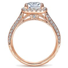 14k Pink Gold Victorian Engagement Ring