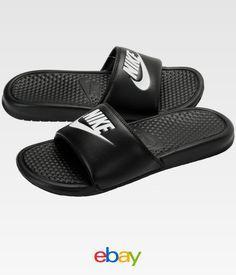 9053ad69d808 Nike Benassi Jdi Mens Black White Slide Sandals Nike Slides