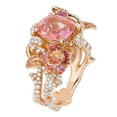 Pink sapphire and diamond dior ring