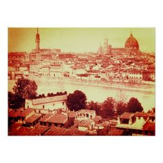 FIRENZE - ANTIQUE FLORENCE PANORAMIC VIEW 1859 POSTER - travel photos wanderlust traveling pictures photo