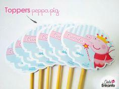 Peppa Pig Toppers brocheta ideal para decorar los cupcakes o en la brocheta puede ponerle 3 masmelos + bolsa + listón y quedan divinos...
