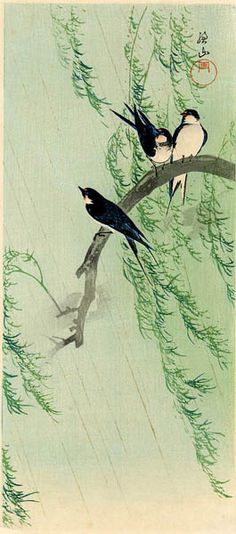 hanga gallery . . . torii gallery: Battledore Print: Swallows on Willow in Rain by Ito Sozan