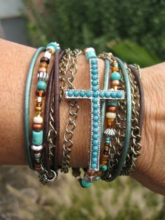 Boho  Mahogany  Endless Leather Wrap Bracelet by fleurdesignz