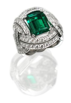Garrard emerald and diamond ring