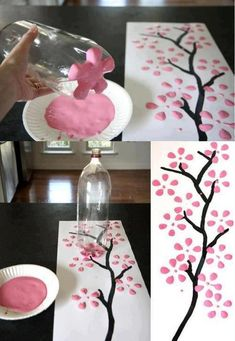 Make an easy simple tree painting. You'll need: brown paint for the branches . - Make an easy simple tree painting. You'll need: brown paint for the branches any colored paint for the flowers paper a liter bottle a paint brush - Kids Crafts, Diy Home Crafts, Easy Crafts, Diy Para A Casa, Art Diy, Spring Crafts, Diy Wall, Wall Art, Diy Room Decor