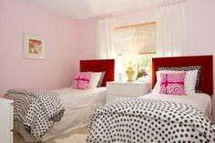 cute girls room. pink, red, black & white polka dots, bamboo shades