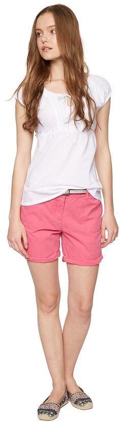 Bermuda-Shorts für Frauen (unifarben, mit Knopf und Reißverschluss) aus Twill, krempelbare Beinsäume für einen lässigen Look, Paspeltaschen mit Knöpfen in Horn-Optik hinten. Material: 100 % Baumwolle...