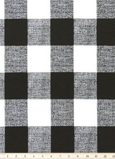 Outdoor Buffalo Check Black - Black and White Buffalo Check plaid fabric for outdoor lifestyle decorating. Great for poolside, sunroom or patio cushions, upholstery, pillows or table top.
