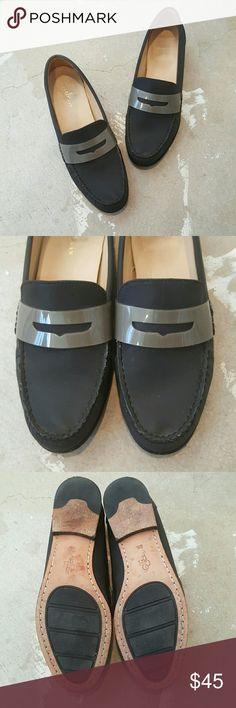 Cole Haan Gray Loafers I am selling a gorgeous pair of loafers by Cole Haan.  The silhouette is quite classic however the charcoal.gray color is a standout, sure to be your new fave neutral.   This particular pair is in excellent condition only signs of wear are on sole, (pic3) and a little on insole,(pic1.)  Size 8.5. Cole Haan Shoes Flats & Loafers