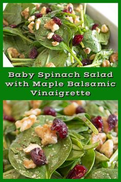 This baby spinach salad with maple balsamic vinaigrette is a super easy vegan re. This baby spinach salad with maple balsamic vinaigrette is a super easy vegan recipe that can be pu Baby Spinach Salads, Spinach Salad Recipes, Balsamic Salad Recipes, Fresh Vegetables, Fruits And Veggies, Cranberry Salad, Dried Beans, How To Make Salad, Vegan Recipes Easy
