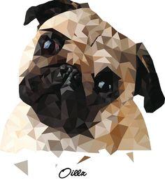 ❤️🐾 Pug Cross, Cute Pugs, Funny Pugs, Polygon Art, Pug Art, Wild Dogs, Pug Love, Dog Memes, Dog Behavior