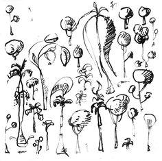 Mauricio Piza, Trees, bamboo pen and ink, 2012