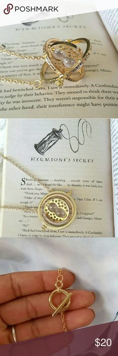 ☇Hermione's Time Turner☇ As a big Harry Potter fan, I decided to add some Harry Potter merch to my closet! This is the very first item! Hermione's time Turner necklace inspired by Harry Potter and the Prisoner of Azkaban 😄⏳☇Chain is 18 inches.  Price is firm unless bundled. Jewelry Necklaces